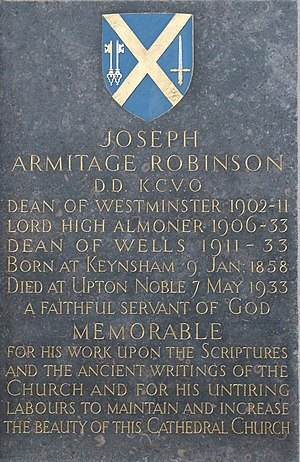 Armitage Robinson - Memorial in Wells Cathedral
