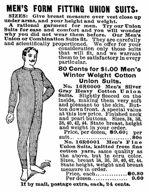 Union suit - A union suit from the 1902 Sears, Roebuck catalog.