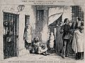 Men and women are gathered outside a prison as prisoners loo Wellcome V0041229.jpg