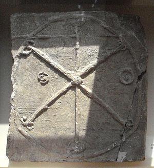 IX monogram - Image: Merovingian sarcophagus symbol 6th 7th century Paris