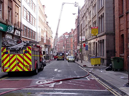 Merseyside Fire and Rescue Service in action Merseyside Fire and Rescue on STanley STreet, Liverpool.jpg