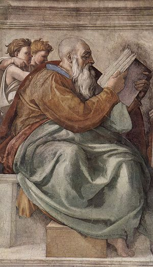 Zechariah as depicted on Michelangelo's ceilin...