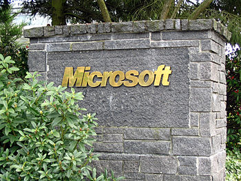 Closeup of a stone sign bearing the Microsoft ...