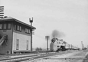 Milwaukee Road F7 4-6-4 locomotive hauling the...