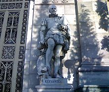 """""""The pen is the language of the soul; as the concepts that in it are generated, such will be its writings.""""– Statue of Cervantes, outside the Biblioteca Nacional de España (National Library of Spain). (Source: Wikimedia)"""