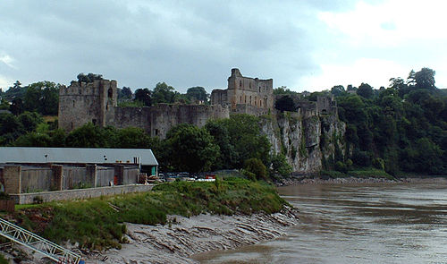 Chepstow Castle in Wales, built by William fitzOsbern in 1067 Mms chepstow castle from river wye.jpg