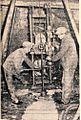 Možje na koncu enega od prečnih hodnikov s posebno napravo vrtajo v tla rudnika urana v Žirovskem vrhu 1969.jpg