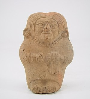 Labret - Moche figurine depicting a woman with labret. Larco Museum Collection. Lima-Peru