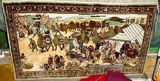 Carpet - Modern carpet illustrating a camel caravan on the Silk Road