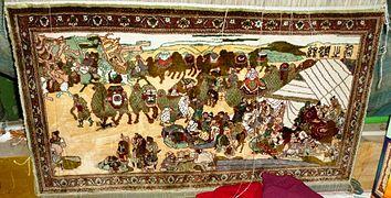 Moden carpet illustrating camel caravan on Silk Road. Kashgar