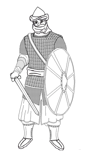 Rashidun army - A Rashidun elite soldier equipped for infantry warfare. He is wearing an iron-bronze helmet, a chain mail hauberk, and leather lamellar armor. His sword is hung from a baldric, and he carries a leather shield.