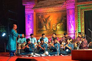 Odissi music - Mohini Mohan Patnaik orchestrating an Odissi music composition at Utkal Sangeet Natak Mahavidyalaya, Bhubaneswar, Odisha.