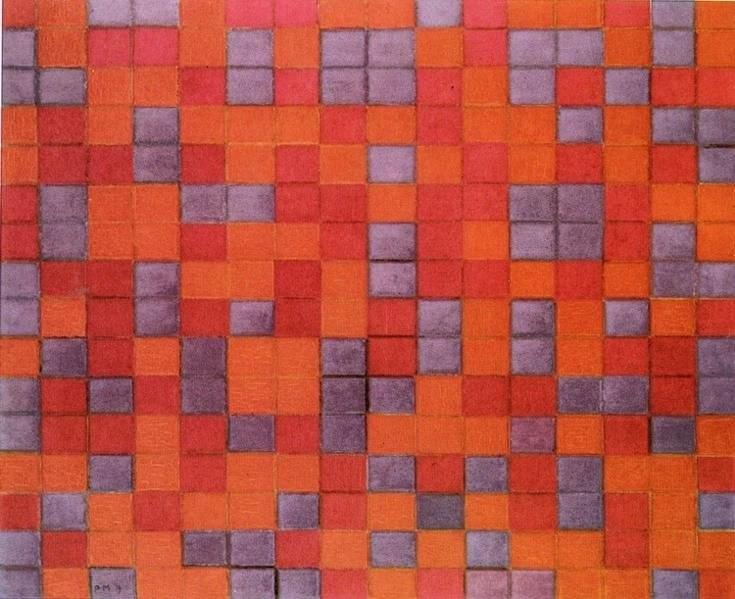 Mondrian Compositie Dambord, donkere Kleuren