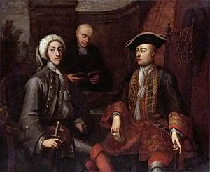 James O'Hara, 2nd Baron Tyrawley - Left: John Montagu, 2nd Duke of Montagu (1690-1749) ; Centre, background: unknown minister of the church; right: James O'Hara, 2nd Baron Tyrawley (1682-1774)