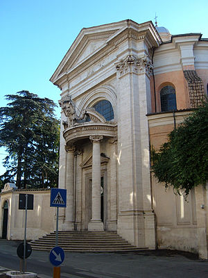 Church of Saint Andrew's at the Quirinal - Façade of Sant'Andrea al Quirinale, bearing crest of Cardinal Camillo Francesco Maria Pamphili.