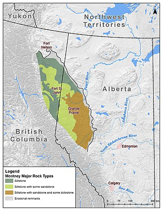 Hydraulic fracturing in Canada - Image: Montney Formation