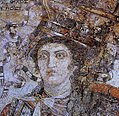 Mosaic of Berenice II, Ptolemaic Queen and joint ruler with Ptolemy III of Egypt, Thmuis, Egypt.jpg
