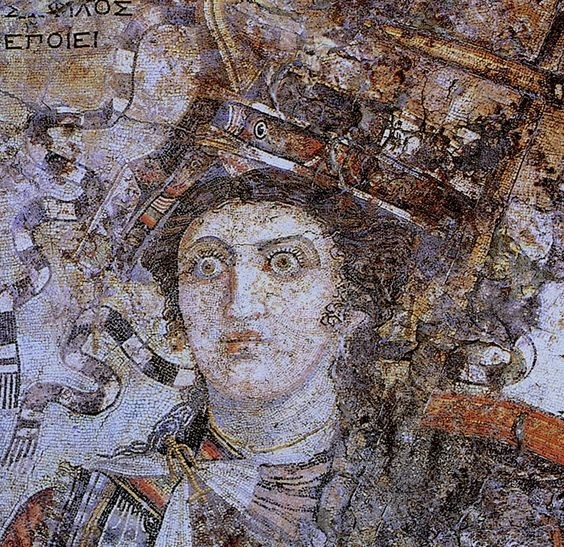 Mosaic of Berenice II, Ptolemaic Queen and joint ruler with Ptolemy III of Egypt, Thmuis, Egypt