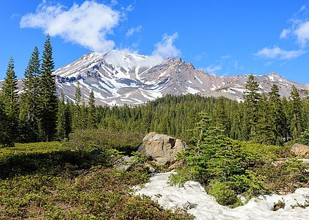 Mount Shasta as seen from Bunny Flat Trailhead in May 2021