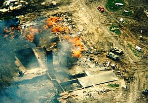 Waco siege - Last remnants of the razed Mount Carmel Center burn down