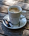 Mug of coffee at Black Lion High Roding, Essex, England.jpg