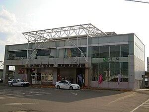 Murayama Station (Yamagata) - East entrance of Murayama Station in May 2011