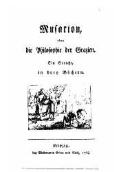 Christoph Martin Wieland: Musarion, oder Die Philosophie der Grazien