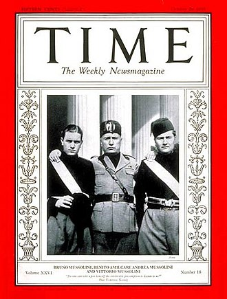 Bruno Mussolini - Bruno (left), with father and brother Vittorio, on the cover of Time, 28 October 1935.