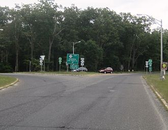 New Jersey Route 72 - The beginning of Route 72 at the Four Mile Circle