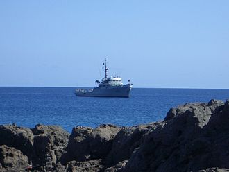 Savage Islands - The Portuguese Navy ship NRP Schultz Xavier anchored near the island of Selvagem Pequena