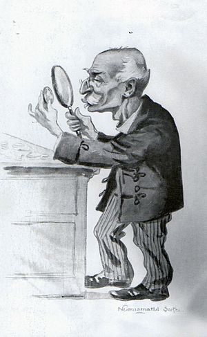 Mihail C. Suțu - A 1913 caricature of Suțu the numismatist, by Nicolae Petrescu-Găină