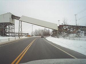 New York State Route 12B - NY 12B proceeding northward under a bridge for the quarry in Marshall