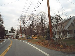 New York State Route 284 - NY 284 in Slate Hill, approaching the junction with US 6
