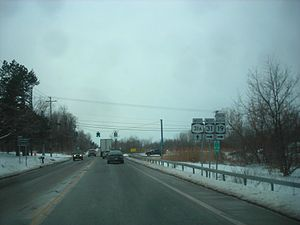 New York State Route 31 - Approaching NY 31A on NY 31 westbound in Sweden