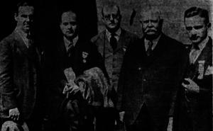 Irwin Steingut - (l to r) W.B. Vause, Irwin Steingut, John J. Campbell, John H. McCooey, W.A. Hyman in 1922.