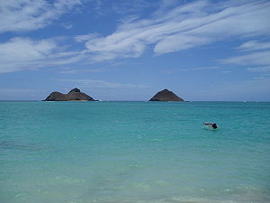 View of Na Mokulua from Lanikai Beach