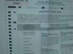 "Ralph Nader presidential campaign, 2008 - California Presidential primary, Green Party ballot, February 5, 2008, listing ""Ralph Nader"""