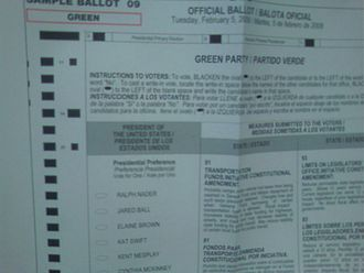 """Ralph Nader presidential campaign, 2008 - California Presidential primary, Green Party ballot, February 5, 2008, listing """"Ralph Nader"""""""