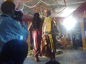 Nagaradhane - Union of nagabrahma and nagakannike at a mandala held in Belle Brahmastana, Udupi