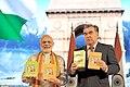 Narendra Modi and the President of Tajikistan, Mr. Emomali Rahmon releasing the Hindi translation of Babojon Ghafforov's Tajikon, a masterpiece on Tajik History, at the Workshop of Agriculture Cooperation, in Dushanbe.jpg