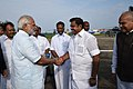 Narendra Modi being seen off by the Governor of Tamil Nadu, Shri Banwarilal Purohit, the Chief Minister of Tamil Nadu, Shri Edappadi K. Palaniswami and the Deputy Chief Minister of Tamil Nadu, Shri O. Panneerselvam.jpg