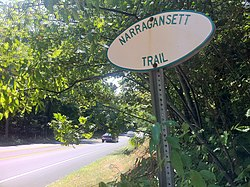 "Narragansett Trail ""white oval"" sign on CT Route 2 near Gallup Pond and Ryder Road..jpg"