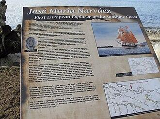 José María Narváez - Sechelt's historical marker for Narváez