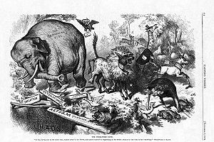 1874 Nast cartoon depicted GOP as an elephant demolishing the flimsy planks of the Democrats