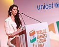 Natasha Mudhar speaking at the launch of the World's Largest Lesson India, 2016.jpg
