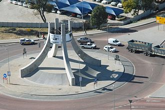 Polokwane - Nelson Mandela road traffic island on the approach to Polokwane