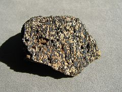 A speckled rock specimen