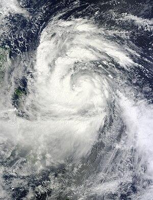 Typhoon Nesat (2011) - Tropical Storm Nesat intensifying off the Philippine coast on September 25