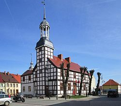 Town Hall in Nowe Warpno from 1697 is one of the most distinctive town halls in Poland