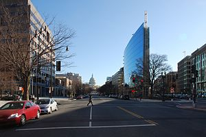 New Jersey Avenue, near F Street, in Washington, DC looking towards United States Capitol Glass building on National Association of Realtors